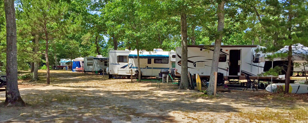 RV site at Atlantic Oaks Campground